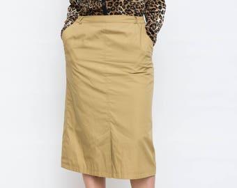 Vintage Khaki Pencil Skirt / Army Green Vintage Cotton Skirt / Size M Medium / Below the Knee Length Skirt