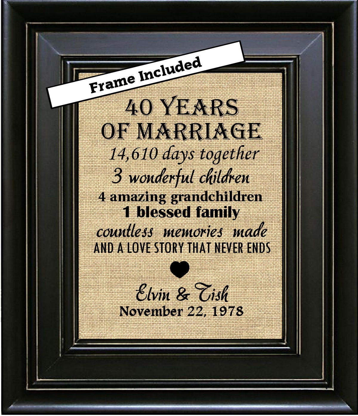 40th Wedding Anniversary Gifts: FRAMED Personalized 40th Anniversary Gift/40th Wedding