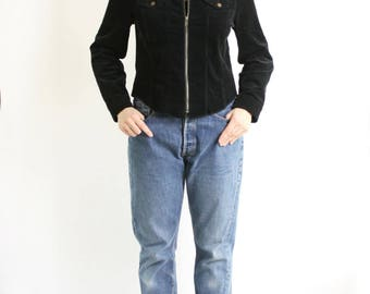 Vintage 90's Black Corduroy Shirt Zip Up Minimalist Pockets Long Sleeves. Corduroy Jacket