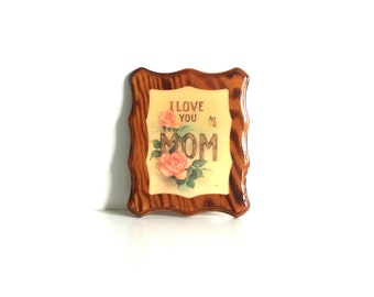 I Love You Mom vintage wooden wall plaque