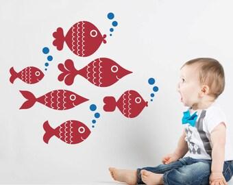 Ocean Big Fish Wall Decal Stickers, Under the Sea Nursery Ocean Baby Kids Underwater Sea Life Room Decor: SWIM RIGHT