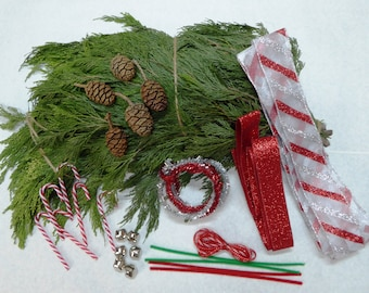 Christmas garland and swag making kit. Holiday wreath making crafts and ornaments. Real greenery for window decorations and staircase swags!
