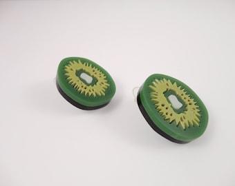 Kiwi Earrings | Plastic Kiwi |  Handmade Fruit Earrings | Perspex Kiwi Green  Plexiglas |  Laser-cut Kiwi | Handmade by PlexiShock