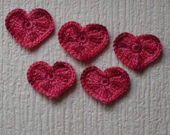set of 5 hearts multi pink crocheted height 2.5 cm