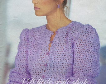 Lady's cardigan crochet pattern. Instant PDF download!
