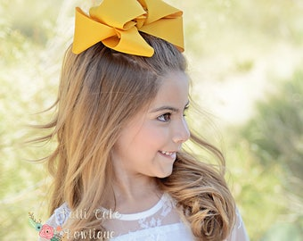 XL Mustard Gold Hair Bow/Mustard Yellow Giant Hair Bows for Girls/Stacked Hair Bows/Jumbo Hairbows/JoJo Style Bow/Big Bows for Girls
