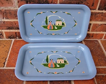 Vintage Southern Belle Metal Trays Serving Trays TV Trays Farmhouse Trays