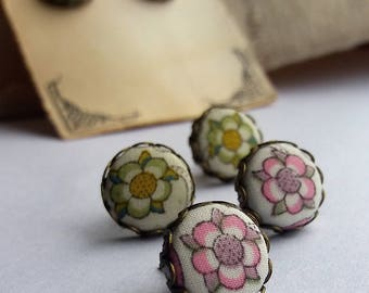 Liberty Lodden - Fabric Covered Button Stud Earrings.
