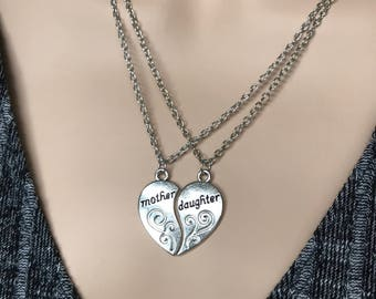 2 pcs set Valentine's gift,Mother's day gift Silver Plated Mother Daughter Necklace Silver Heart Love Mom Necklaces & Pendants