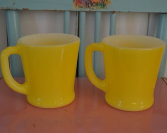 Set of 2 Bright & Cheery Yellow Fired On Fire King D Handle Coffee Mugs