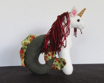 Plush Mini Cream, Dark Green, and Maroon Sea Unicorn