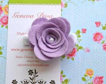 Lavender Felt Rosette Flower Hairclip
