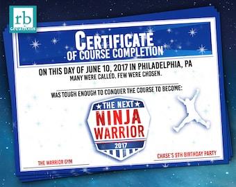 PRINTED Ninja Warrior Certificate, Ninja Warrior Party Favor, Ninja Warrior Birthday Party, Ninja Party - Printed Party Certificate
