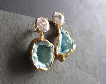 Part Of Your World. Mermaid Blue Aqua Aura Druzy Gold Plated. Cubic Zirconia Earrings. One of a Kind.