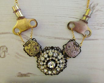 Clockwork Steampunk Necklace Sparkle Upcycled Altered Jewellery