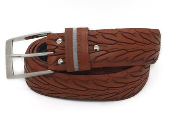 """Bicycle Tire Belt """"RUBENA BROWN"""" (upcycled vegan handmade) by tirebelt.com - Fall Collection 2017"""