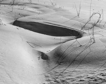 Drifted Snow, Wind-blown, Shadows, Abstract, Minimalism, Landscape, B&W Fine Art Photo, Download, Printable Wall Art, Poster, #_2250214