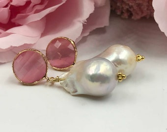 Pink Chalcedony posts with Luminous Baroque Pearls