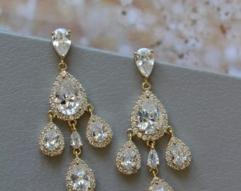 Gold Bridal  Earrings, Crystal Teardrop Earrings, Crystal Chandelier  Earrings, Wedding Earrings, Bridal Jewelry  ,Wedding Jewellery , UK