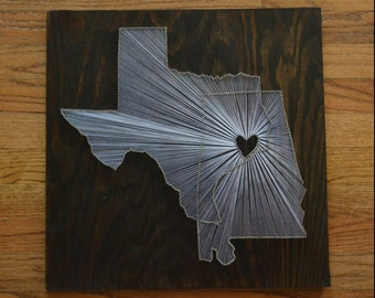 THE ORIGINAL Two State String Art - 18x18 - Two State One Heart String Art - Multiple State Nail Art - Two City String Art