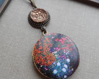 50% Off Antique Button Locket Necklace, Impressionist Garden