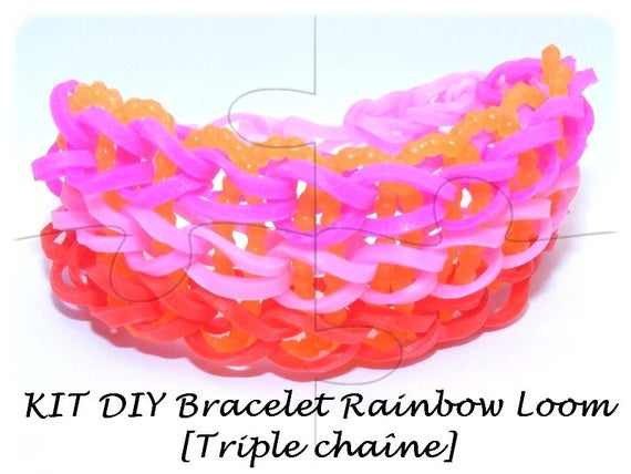 "Kit child ""DIY"" Gold/Orange/yellow/white elastic bracelet model [Triple chain]"
