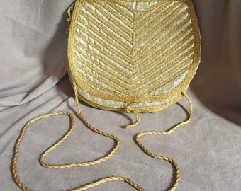Gold Purse, Vintage 80's Gold Metallic Bag, Gold Crossbody Shoulder Bag, Purse, Vegan Friendly, 70's Disco Style Purse