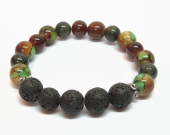 Men's Green and Brown Oil Diffuser Bracelet, Men's Boho Bracelet, Men's Lava Rock Bracelet, Men's Beaded Bracelet, Father's Day Gift