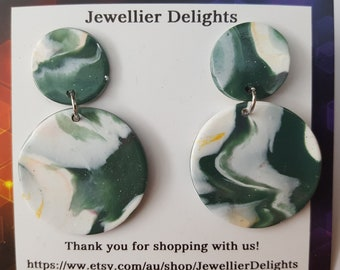 Olive Marble Dangles