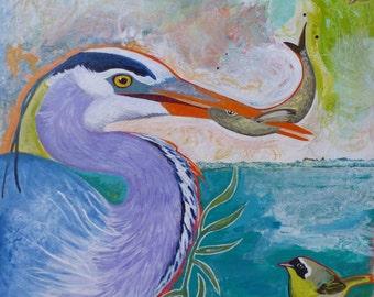 Great Blue Heron Original Bird Painting