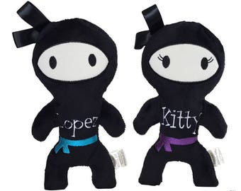 Personalized Stuffed Ninja - Ninja Stuffed Doll - Black Ninja Doll - Ninja Birthday Gift - Ninja Plush - Kawaii Stuffed Toy - Ninja Toy