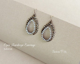 Open Teardrops Earrings - Beading Tutorial - Seed Beads and Crystals Earrings - Digital Download