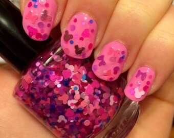 LIMITED STOCK Minnie's Bows ~ 15 mL Full size bottle ~ Indie Nail Polish Glitter Lacquer
