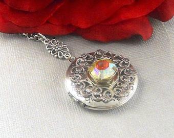 Victorian AB Swarovski Locket Antique Silver Locket Rhinestone Vintage Birthstone Locket Necklace Art Deco Locket Necklace