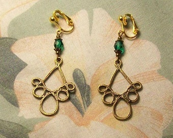 Antiqued Gold Loop Dotted or Smooth Teal Green Faceted Glass Earrings Many Colors Available