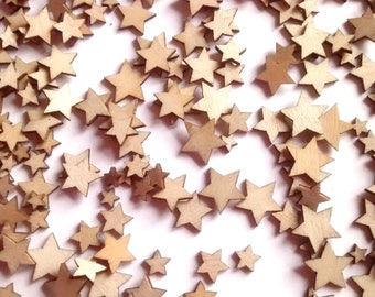 50 mini wood stars, crafts, cabochons, flatback, embellishment, card making, decoden, scrapbooking, jewellery, craft supplies,