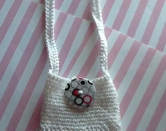 0218 Cell Phone Cozy (Holder/Cover) - White Lace and blk/wht/pink button