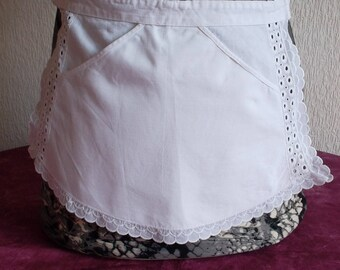 Maid with broderie anglaise and ruffle apron