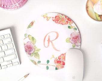 monogram mouse pad | mouse pad | floral mouse pad | personalized mousepad | watercolor mouse pad | cute desk accessories | mouse pad pink