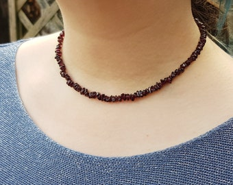 "Vintage Natural Garnet Polished Irregular Gemstone Bead 16"" Short Necklace Chain"