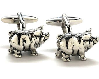 Standing Pig Cufflinks Silver Tone 3-D Cuff Links Farm Animals Comes with Gift Box
