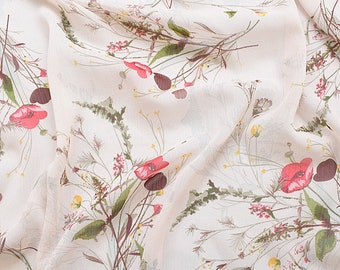 """57""""Width 3 Patterns Floral Series Red Flower Pink Yellow Blue Leaf White Chiffon Fabric By yard"""