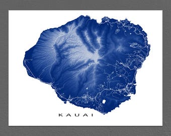 Kauai Map Print, Kauai Art, Hawaii Map, Hawaiian Island, Waimea Canyon