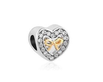 Two Tone Bead, Crystal Heart Bead, Silver Charm, Large Hole Bead, European Bead, Charm Bead, Charm Bracelet, European Charm, Big Hole Bead