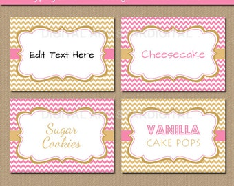 Pink and Gold Baby Shower Food Labels - Pink Gold Candy Buffet Labels - Printable Pink and Gold Wedding Labels Buffet Cards Table Tents PGDC