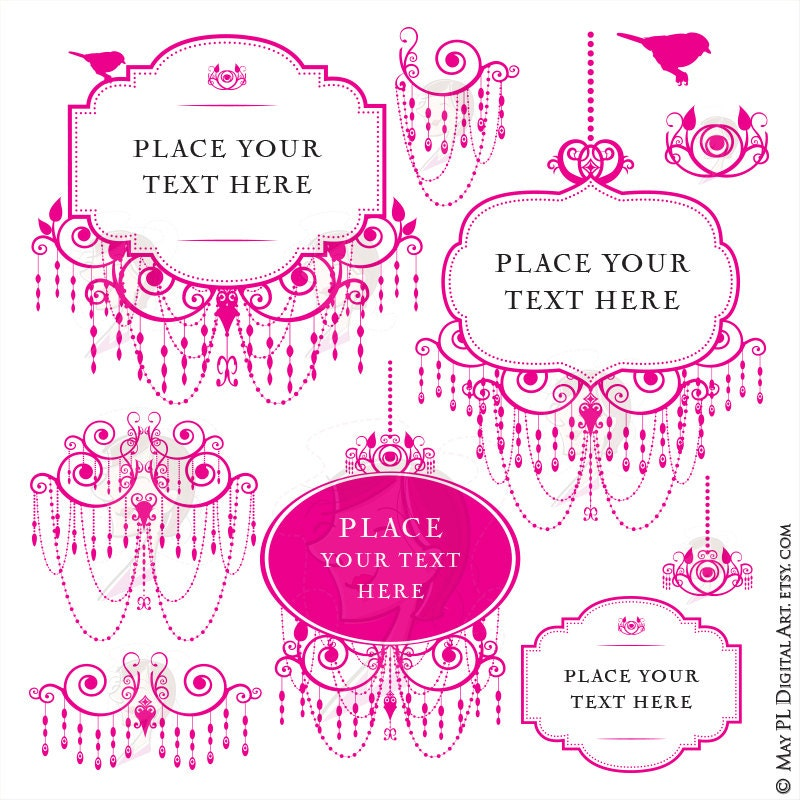 Pink Chandelier Frames Clip Art for Blog Branding or DIY