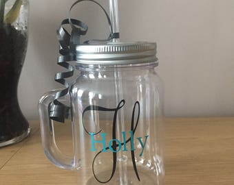 Personalised Name & Initial Plastic Mason Drinking Jar with Lid and Straw