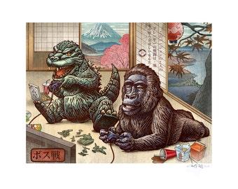 Boss Battle variant 11 x 14 Signed Print -Godzilla King Kong video game Japanese Style