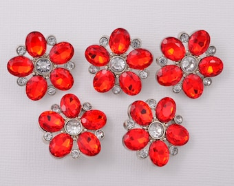 5 pc Buttons - Red Rhinestone Buttons Red Button Craft Supplies