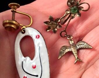 Vintage Earrings. Mid-Century White Enamel, Delicate Birds, Lizard or Grapes. free US ship